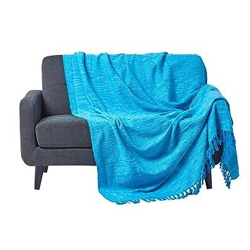 Homescapes Funda de sofá Unicolor, 100% algodón, Color Azul Turquesa de la colección Nirvana 225 x 255 cm