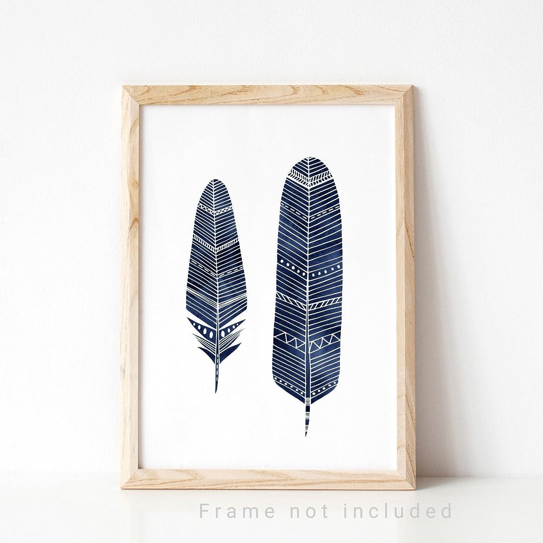 94740e04d7 Navy Boho Feather Print, Minimalist Home Decor, Navy Blue Nursery Wall Art:  Amazon.co.uk: Handmade