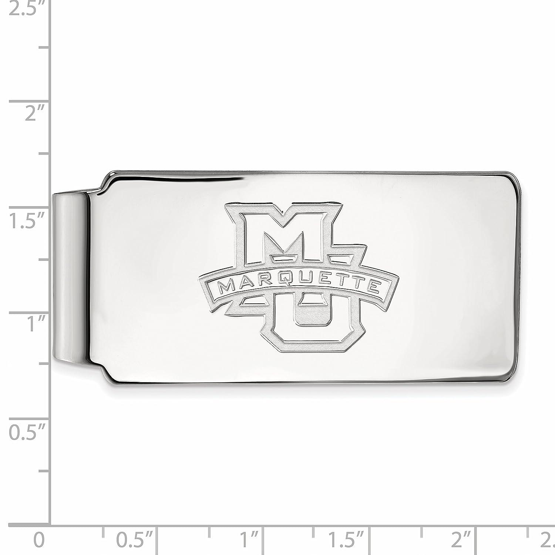 Sterling Silver LogoArt Official Licensed Collegiate Marquette University Money Clip MU