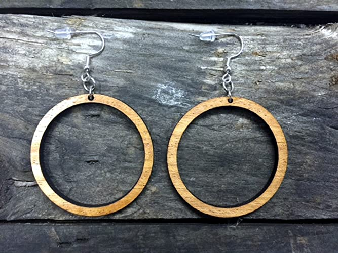 Two Tone Wood Hoop Earrings From Natural Reclaimed Mahogany And