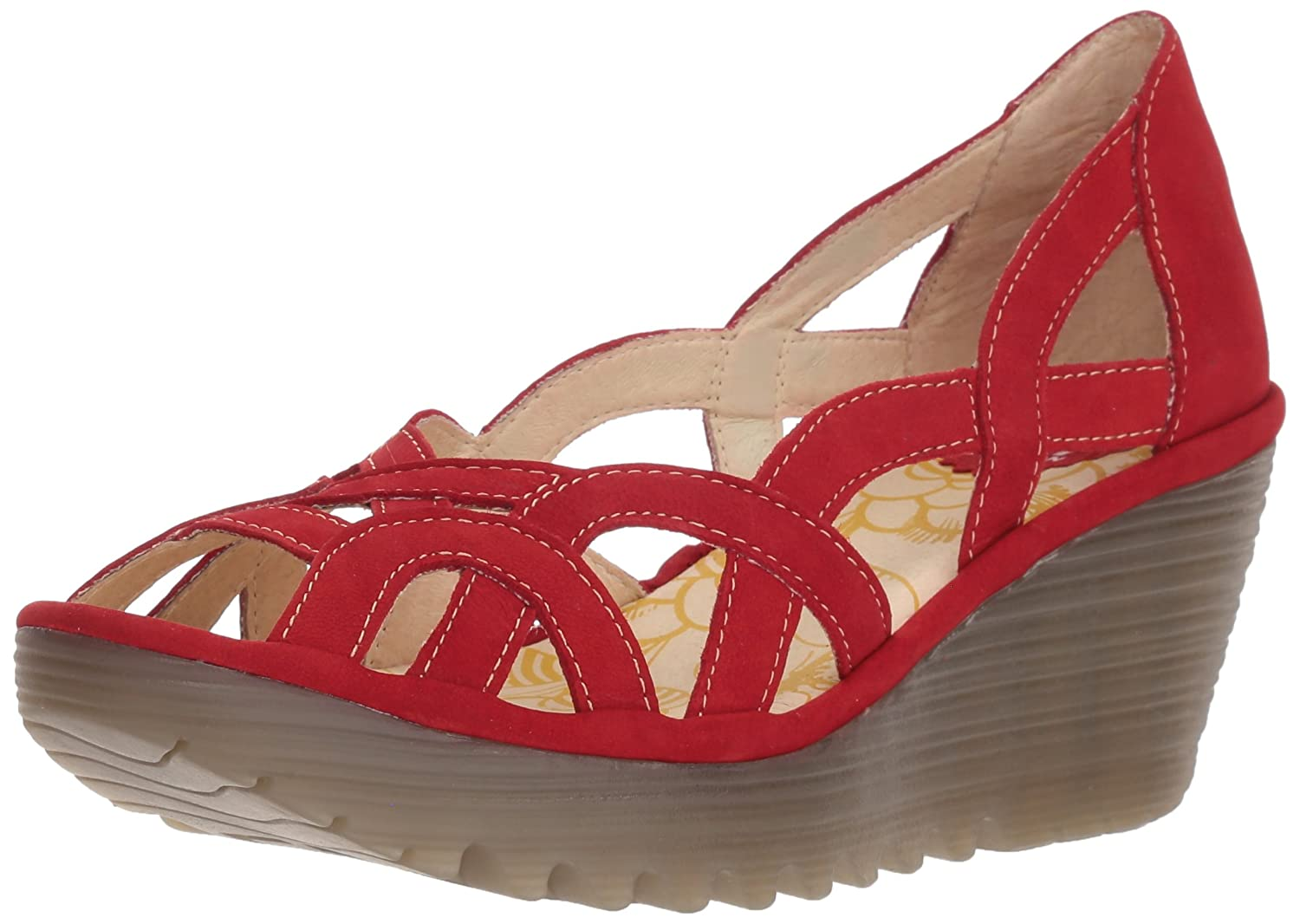 FLY London Women's Yadi718fly Platform Pump B0752LY4HY 38 M EU (7-7.5 US)|Lipstick Red Cupido/Mousse