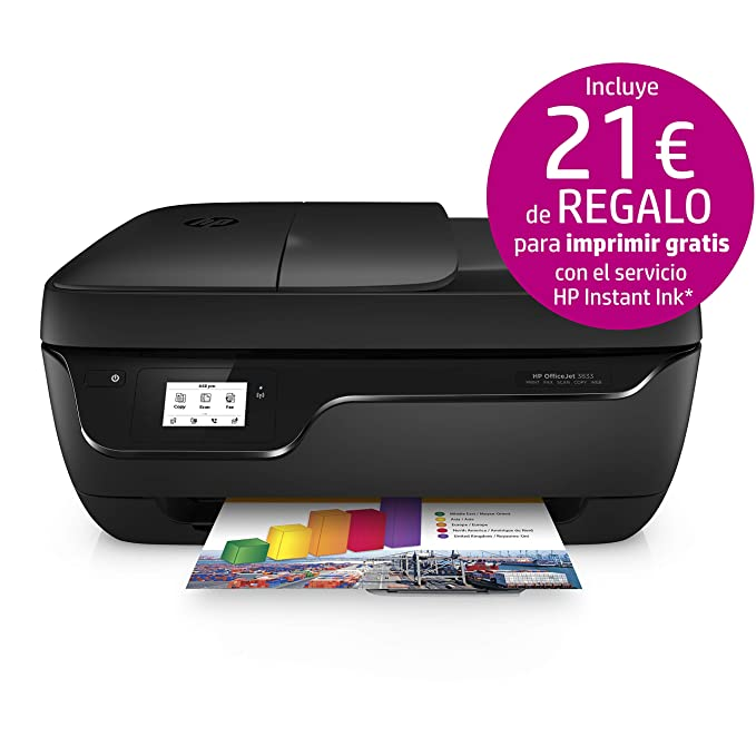 HP OfficeJet 3833 - Impresora Multifunción de Tinta (Wi-Fi, ADF, USB 2.0) Color Negro