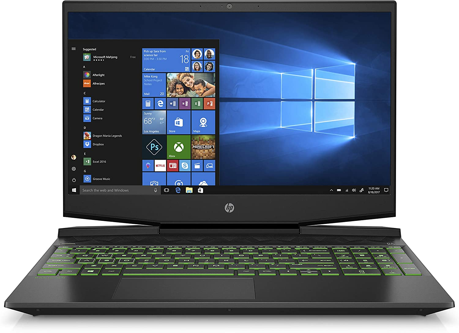 HP Pavilion Gaming 15-Inch Micro-EDGE Laptop, Intel Core i5-9300H Processor, NVIDIA GeForce GTX 1650 (4 GB), 8 GB SDRAM, 256 GB SSD, Windows 10 Home (15-dk0020nr, Shadow Black/Acid Green)