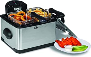 Elite Platinum EDF-401T Maxi-Matic 1700-Watt Stainless-Steel Triple Basket Electric Deep Fryer with Timer and Temperature Knobs and Odor Free Filter, 4.2L/17-Cup (Renewed)