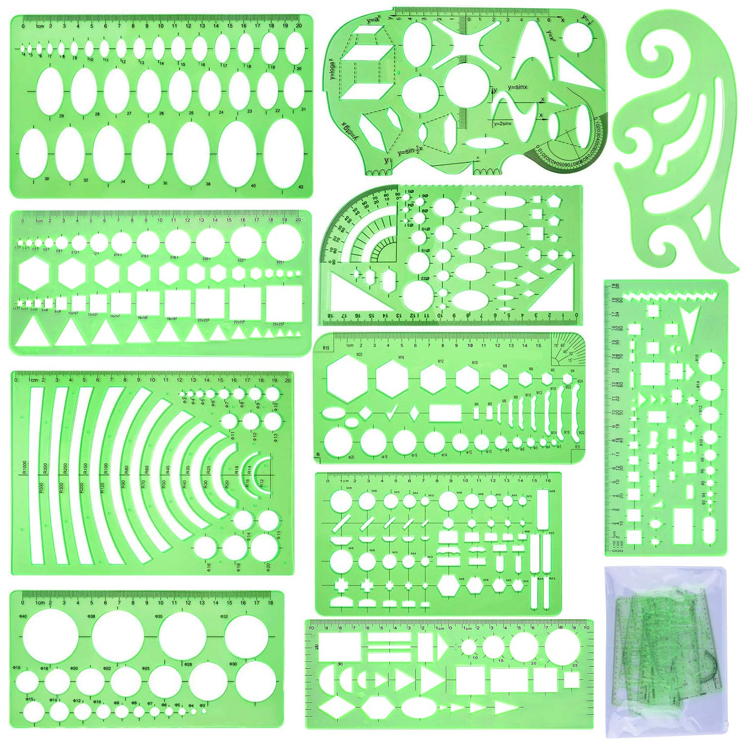 SIQUK 11 Pieces Geometric Drawings Templates Plastic Clear Green Plastic Rulers with 1 Pack Poly Zipper Envelopes for Studying, Designing and Building by SIQUK