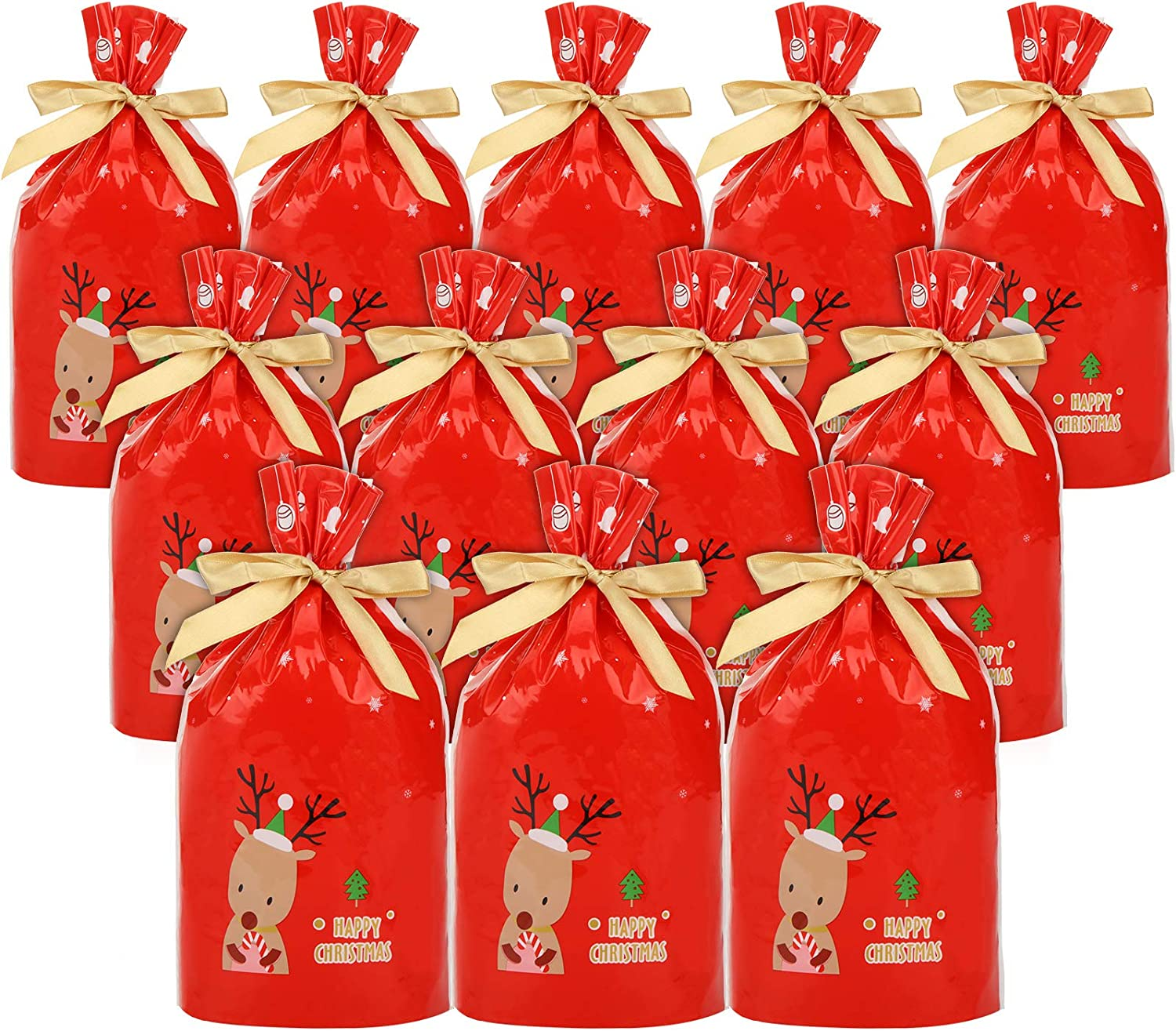 30 Pieces Christmas Drawstring Gift Bags Candy Cookie Bags Christmas Party Treat Bags Plastic Bags with Bow Tie for Xmas Party Favors, Wedding Birthday Party