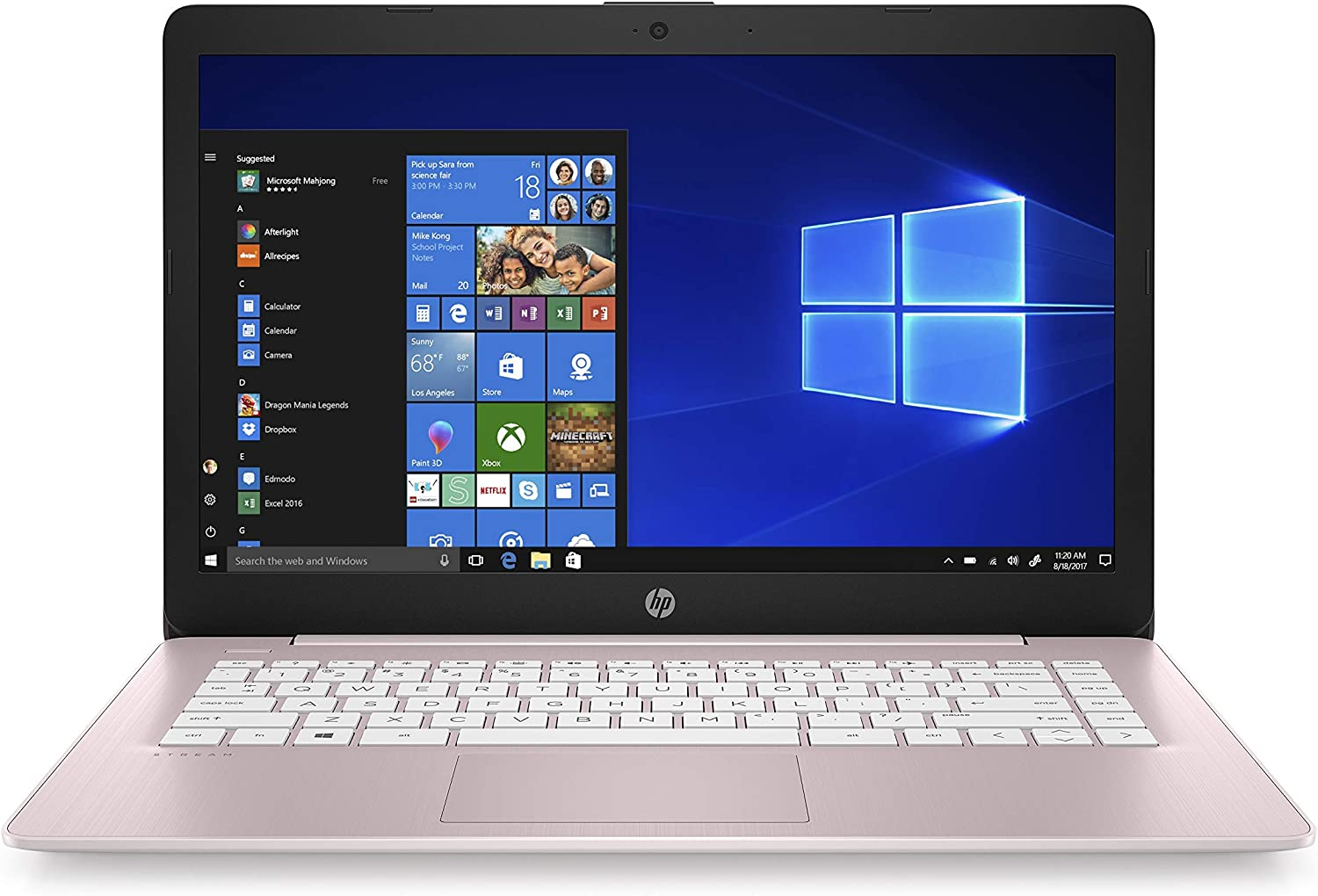 HP Stream 14-Inch Laptop, Intel Celeron N4000, 4 GB RAM, 64 GB eMMC, Windows 10 Home in S Mode With Office 365 Personal For 1 Year (14-cb188nr, Rose Pink) (Renewed)