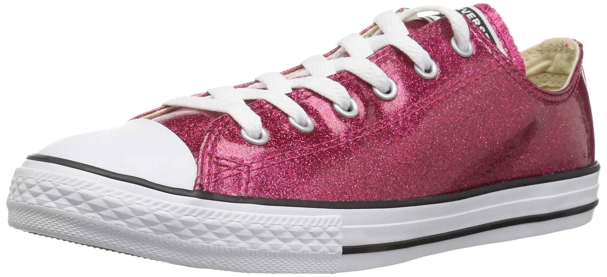380b29feb657 Converse Girls' Chuck Taylor All Star Glitter Low Top Sneaker, Fuchsia, 3 M