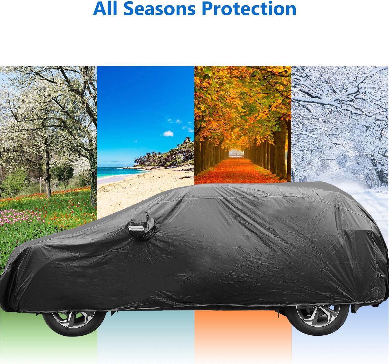 Copriauto Telo Copriauto Auto Impermeabile 210T contro il sole Polvere di neve Vento Dimensione universale(4.8 x 1.9 x 1.8m