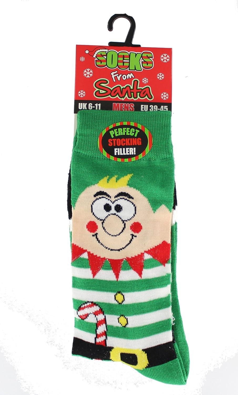 Herren Neuheit Spaß Sockenfüller Elfen Weihnachtssocken UK 6-11