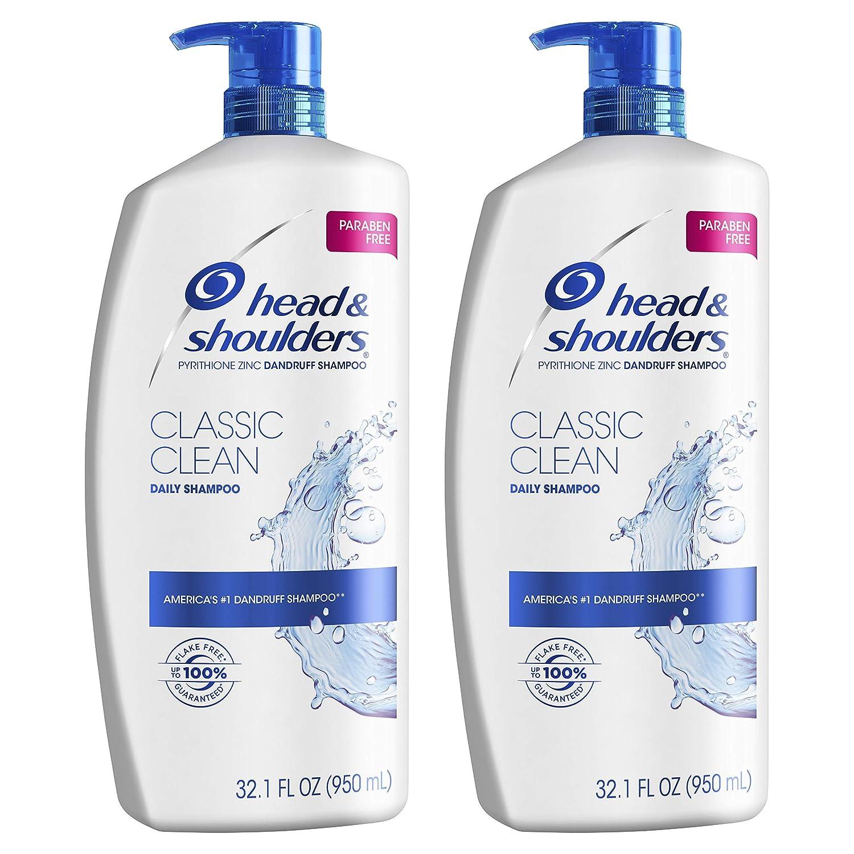 Head and Shoulders Shampoo, Anti Dandruff Treatment and Scalp Care, Classic Clean, 32.1 fl oz, Twin Pack : Beauty