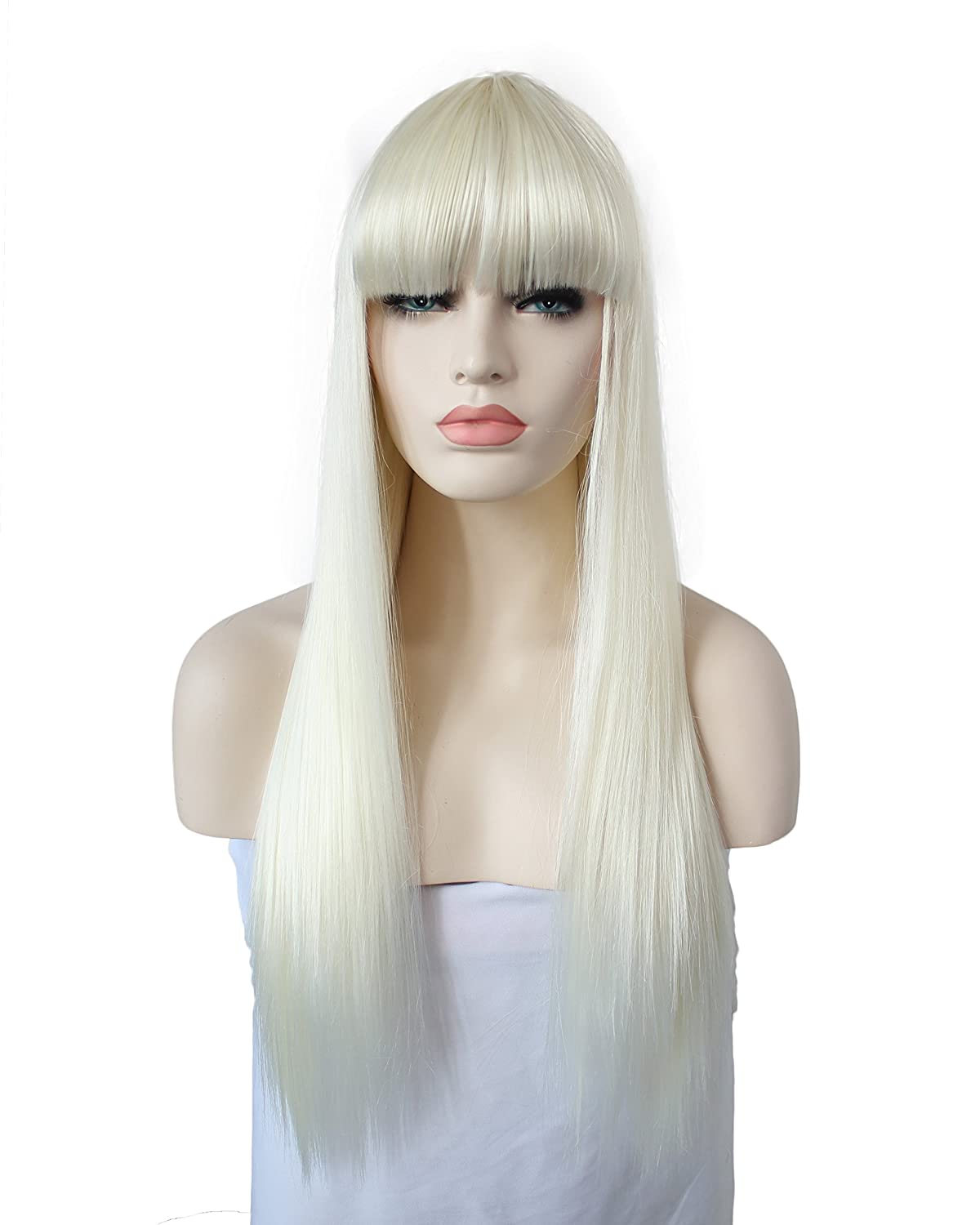 Amazon Com Long Straight Blonde Wig With Bangs Platinum Blonde Hair Wigs With Full Bangs 27 Inch Beauty