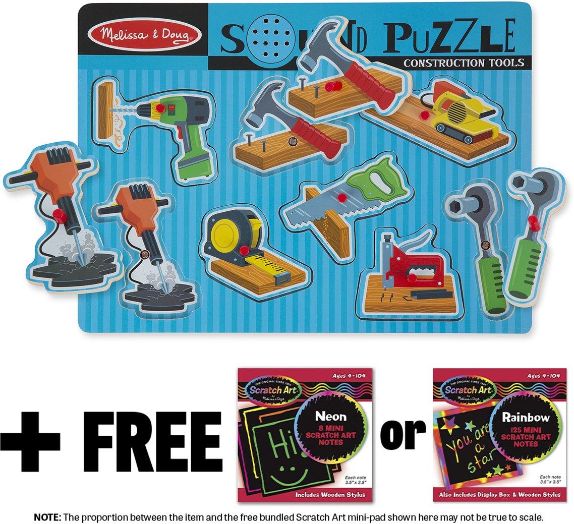 Construction Tools: 8-Piece Sound Puzzle + FREE Melissa & Doug Scratch Art Mini-Pad Bundle [07337] BCC9R7424