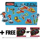 Construction Tools: 8-Piece Sound Puzzle + FREE Melissa & Doug Scratch Art Mini-Pad Bundle [07337]