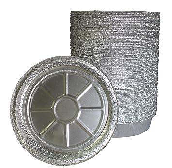 9 pulgadas redondo aluminio sartenes - Congelador y horno seguro de aluminio desechables - para hornear, cocinar, almacenamiento y recalentar, ...