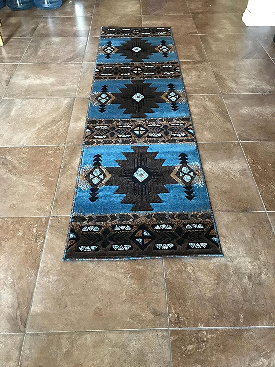 Concord Global Trading South West Native American Area Runner Rug Blue & Brown Design C318 (2 Feet X 7 Feet)