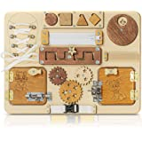 Toddler Eco Busy Board for 1 2 3 Year Old - Wooden Handmade Baby Sensory Activity Boards with Lock, Latches, Buckle, Sorter,