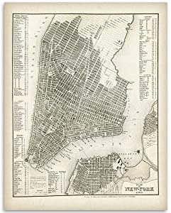 New York Map 1844-11x14 Unframed Art Print - Great Vintage Gift and Decor for History Buffs and Old Map Enthusiasts Under $15