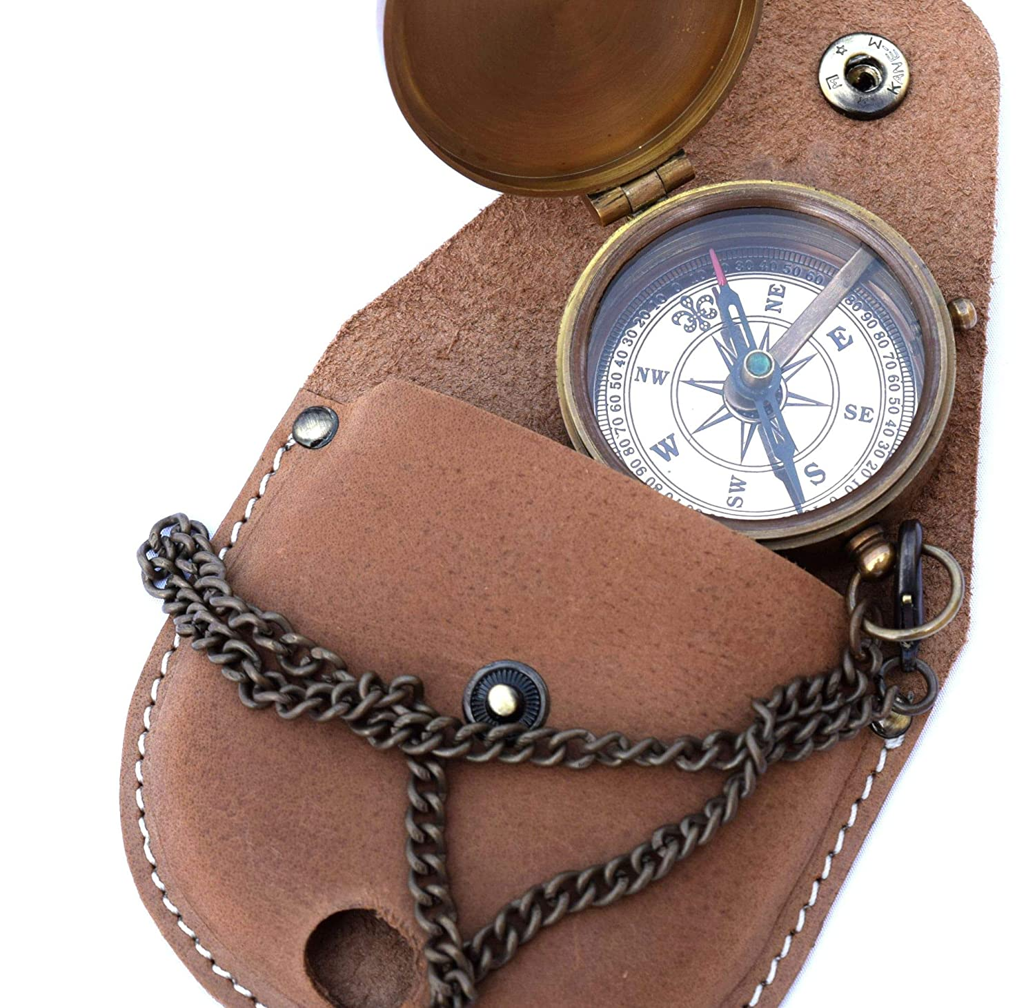 Boy Scouts Gifts MU018 Neovivid Brass Compass Engraved with Thoreaus Go Confidently Quote and Stamped Leather Case