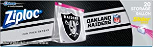 Ziploc Slider Storage Gallon Bag, Great for Grab-and-go Snacking, Tailgating or homegating, 20 Count- NFL Oakland Raiders