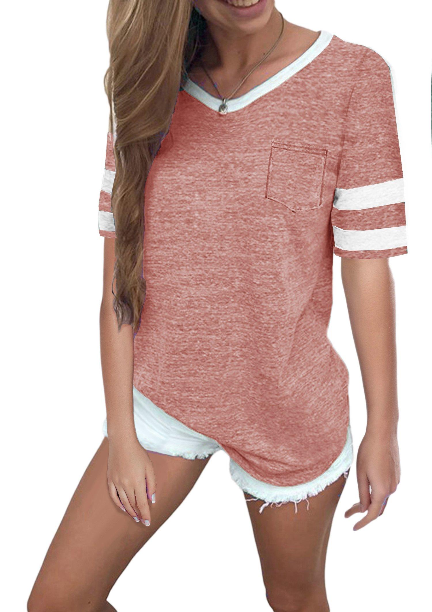 Twotwowin Women's Summer Tops Casual Cotton V Neck Sport T Shirt Short Sleeve Blouse(pk-l)