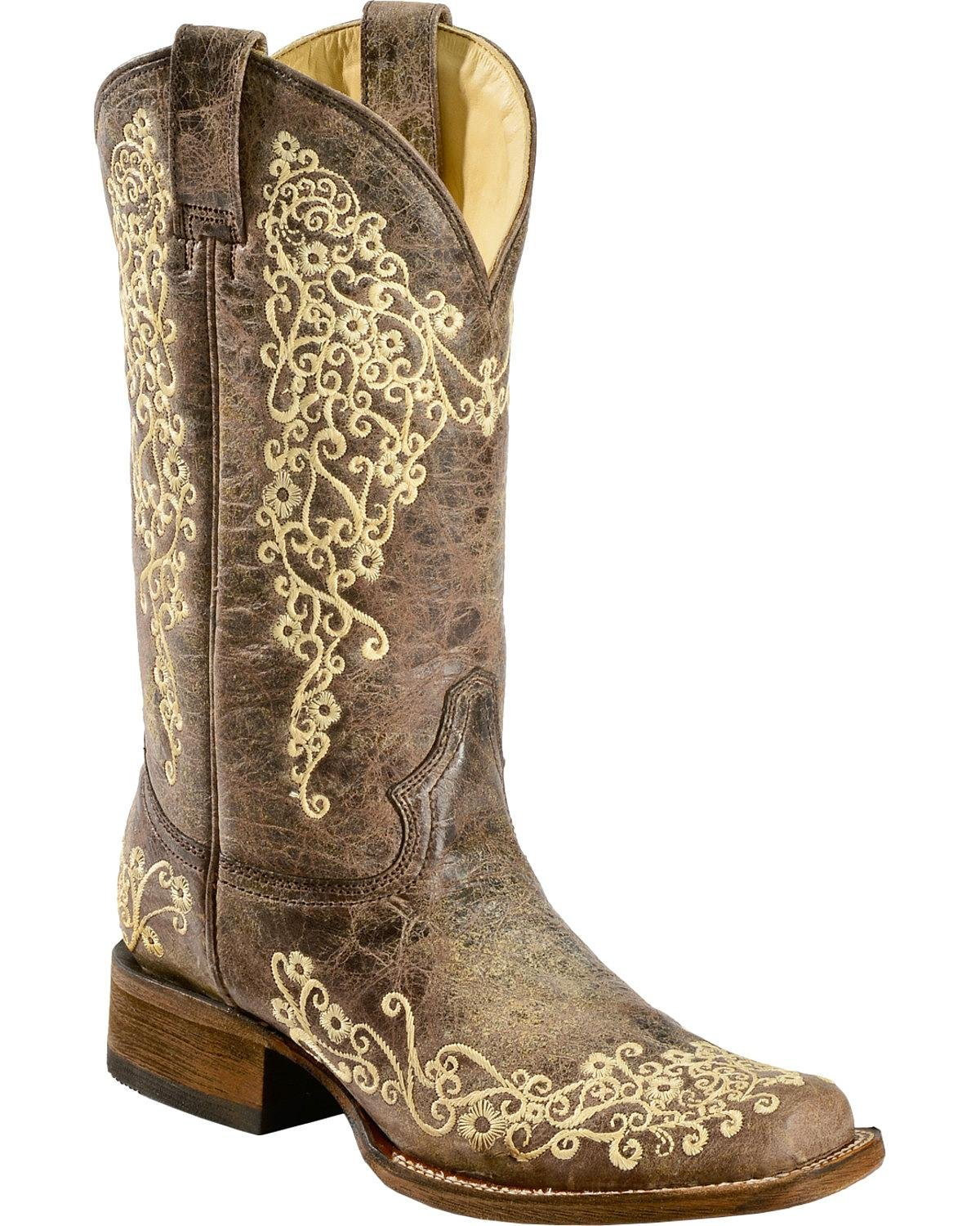 CORRAL Women's Crater Embroidered Cowgirl Boot Square Toe Brown 9.5 M US