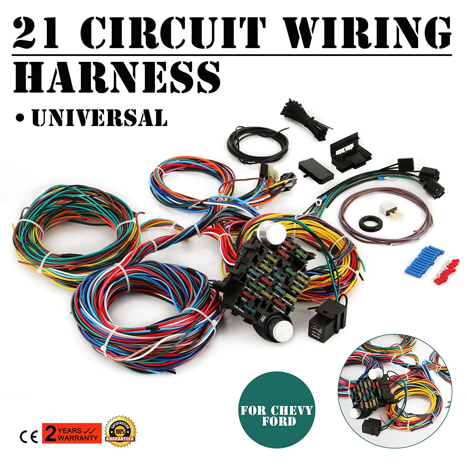 Mophorn 21 Circuit Wiring Harness Kit Long Wires Jeep Universal Standard Color For Chevy Mopar Hotrods Ford Chrysler Automotive