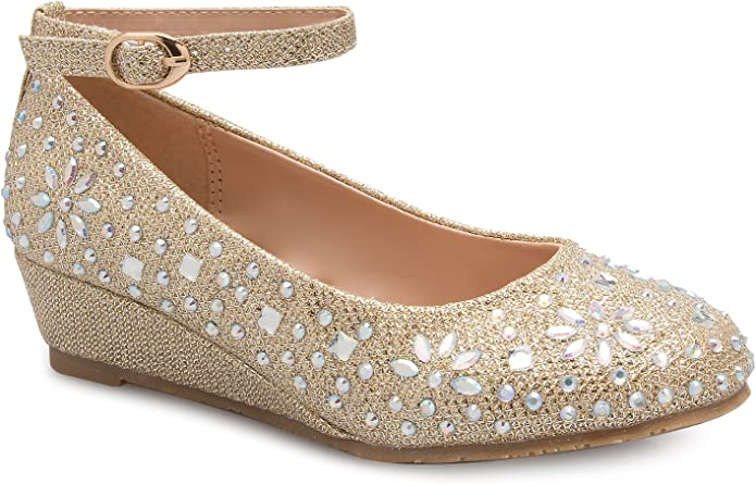 Olivia K Womens Close Round Toe Low Wedge Glitter Rhinestone Comfort