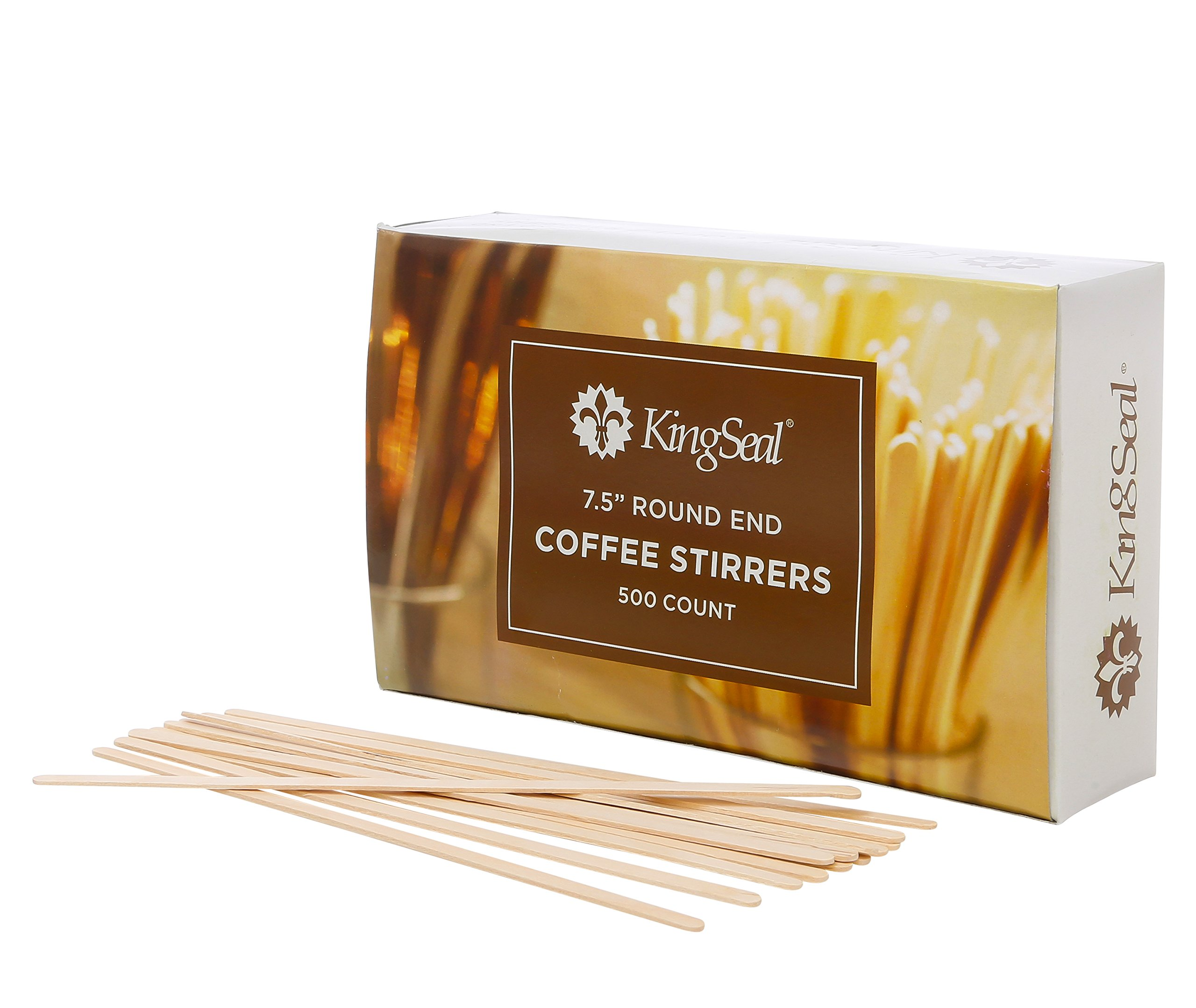 KingSeal Natural Birch Wood Coffee Beverage Stir Sticks, Stirrers, Round End - 7.5 Inches, 10 Packs of 500 each