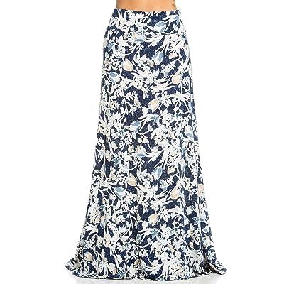 01eb5a20a6fa 12TREES Women's Boho Foldover High Waisted Floor Length Maxi Skirt ...