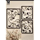 "Hosley's Wall Sconce Iron Tea Light Set (3 Piece - Large 15"" HIgh and Smal 8"" High). Modern Wall Art Plaque for Your Home, Spa, Aromatherapy or As a Gift"