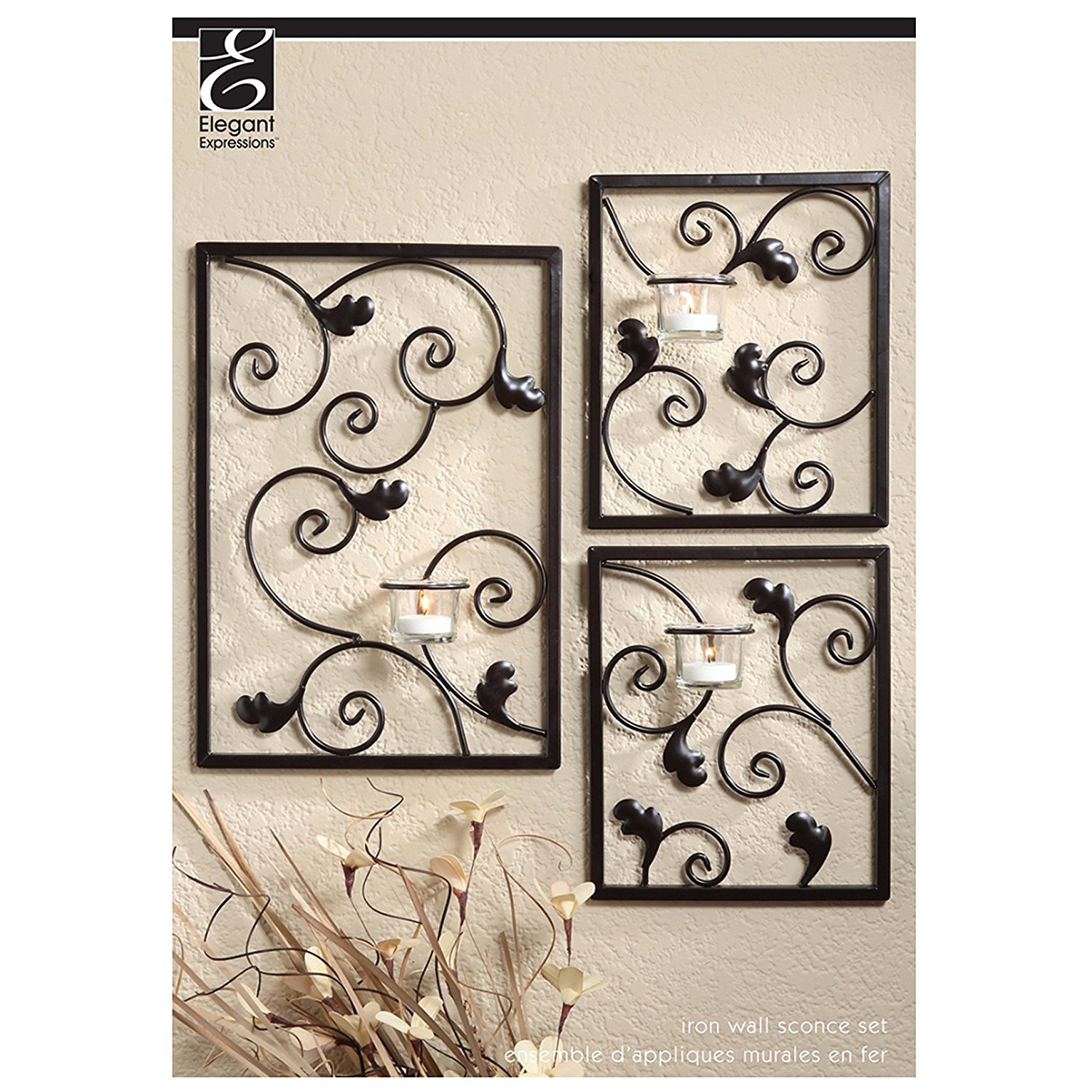 Hosley's Wall Sconce Iron Tea Light Set (3 Piece - Large 15 HIgh and Smal 8 High). Modern Wall Art Plaque for Your Home, Spa, Aromatherapy or As a Gift HG Global BS51654WC