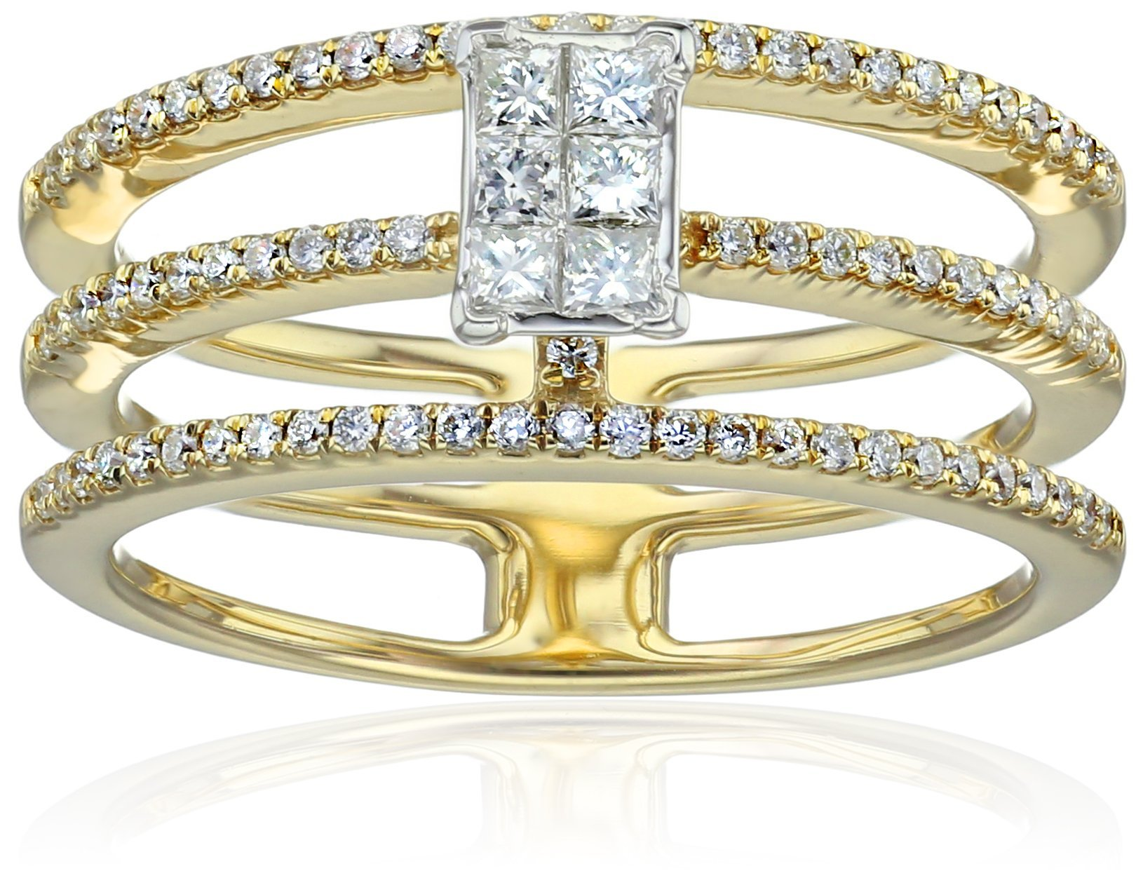 IGI Certified 14k Yellow Gold Diamond with Invisible Set Center Engagement Ring (1/2cttw, H-I Color, I1-I2 Clarity), Size 7
