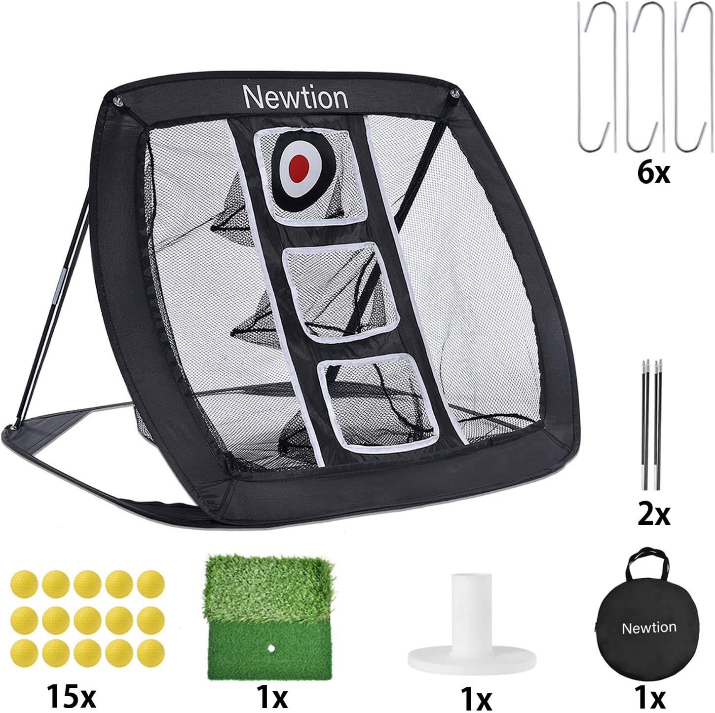 Newtion Pop Up Golf Chipping Net,Indoor/Outdoor Golf Hitting Net Collapsible Golf Accessories Golfing Target Net with 15 Training Balls and 1 Hitting Mats for Backyard Driving and Swing Practice