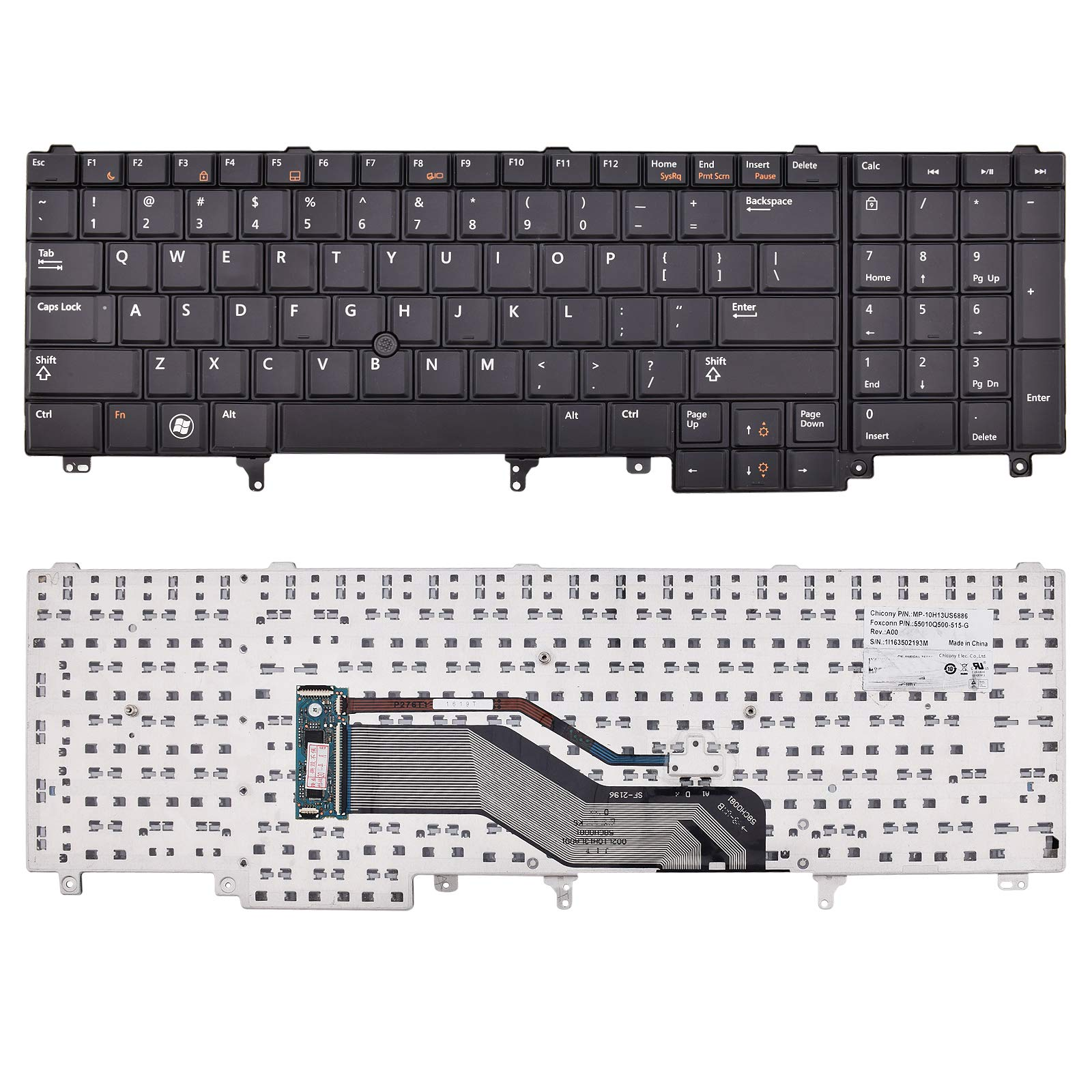 SUNMALL Replacement Keyboard with Pointer Compatible with Dell Latitude E5520 E5520m E5530 E6520 E6530 E6540 Precision M4600 M4700 M4800 M6600 M6700 Laptop US Layout