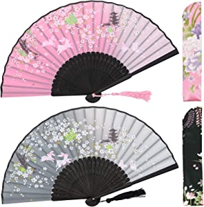 OMyTea Folding Hand Fans for Women - Chinese Japanese Vintage Bamboo Silk Fans - for Hot Flash, EDM, Music Festival, Party, Dance, Performance, Decoration, Wedding, Gift (Gray & Pink Rabbits)
