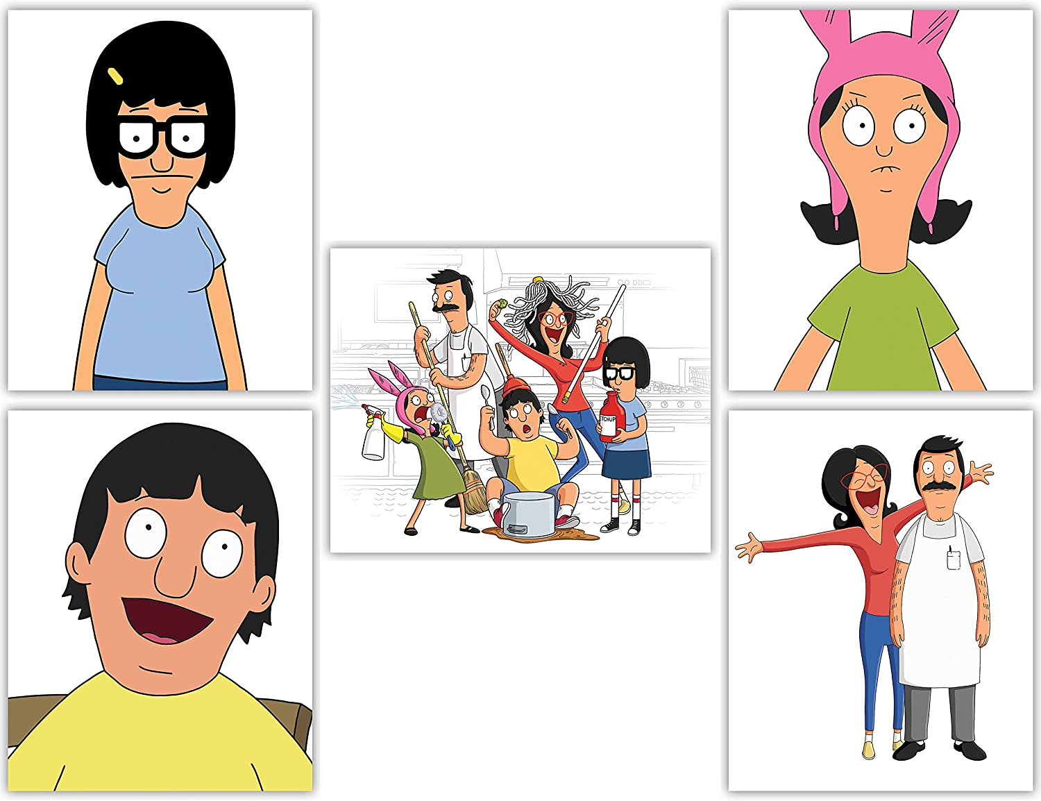 Amazon Com Bob S Burgers Wall Art Poster Collection Tina Louise Gene And Linda Belcher In Our Wall Decor Series Set Of 5 8x10 Photos Posters Prints