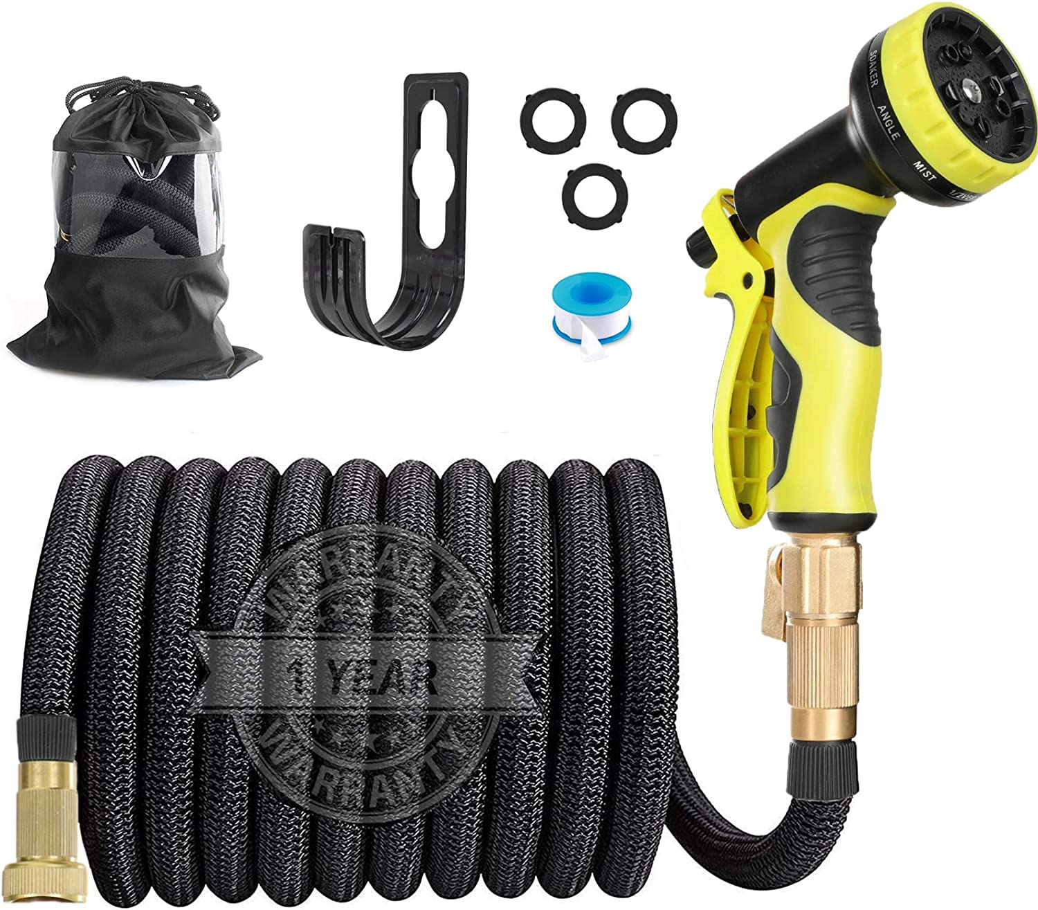 HAUEA Expandable Garden Hose 25FT Leakproof Lightweight Flexible Water Hose with 10 Function Nozzle and 3/4