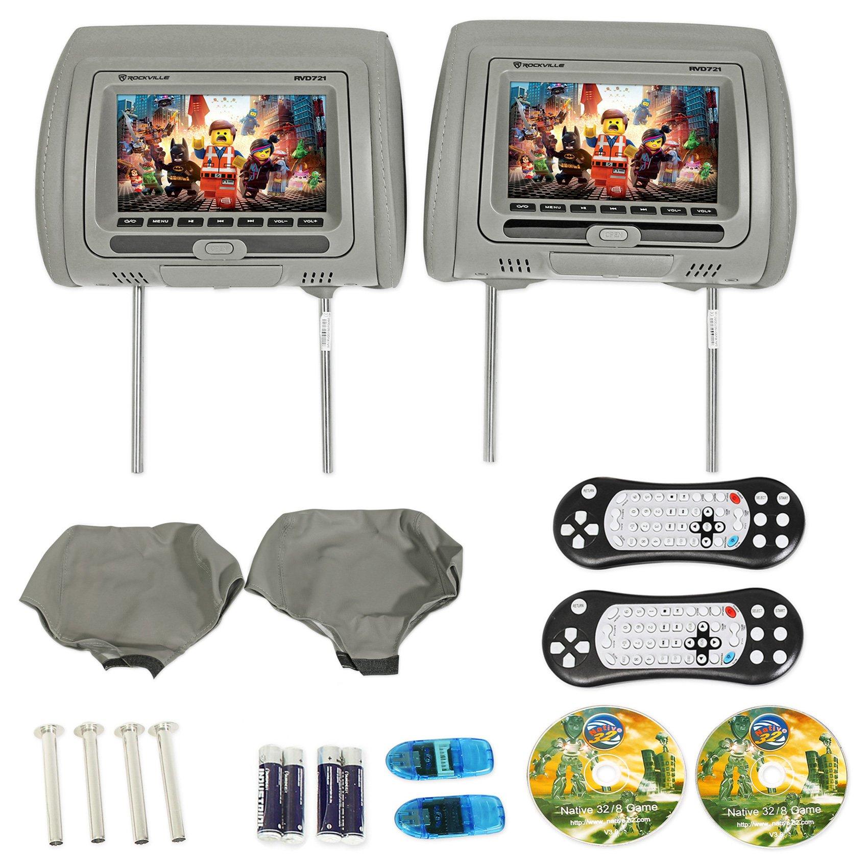 "Rockville RVD721-GR 7"" Gray Dual DVD/USB/HDMI/SD Car Headrest Monitors + Games"
