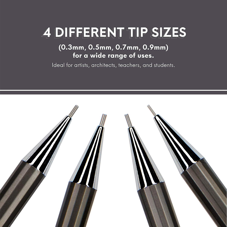 0.7 y 0.9 mm con rellenos de plomo y borrador HB 4 tama/ños: 0.3 Juego de l/ápices mec/ánicos esenciales 0.5 MozArt Supplies