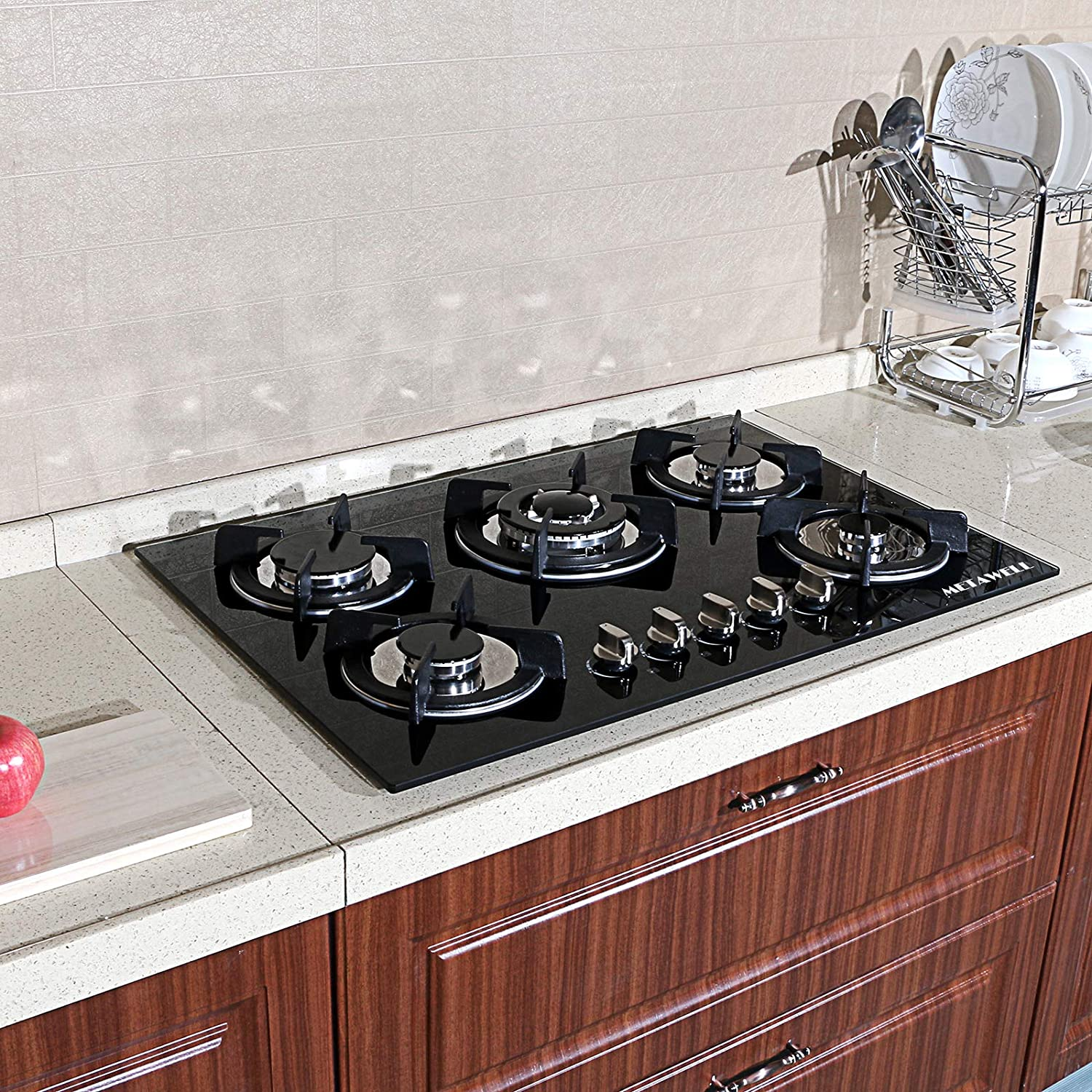 Ship from US !! METAWELL 30.3' Kitchen Tempered Glass 5 Burners Built-in NG/LPG Gas Cooktops