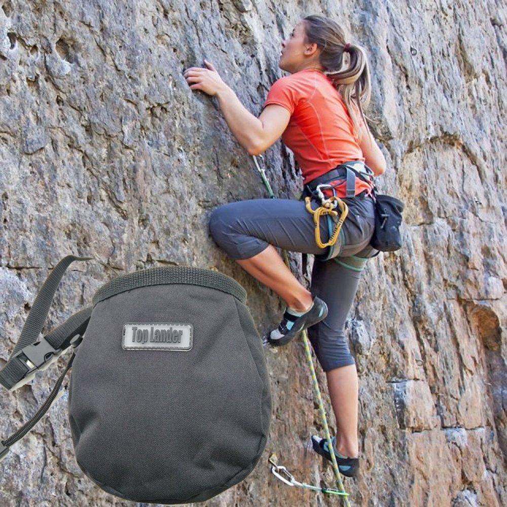 Top Lander Sac /à magn/ésie pour lescalade la Gymnastique lhalt/érophilie Bouldering Sac /à Craie magn/ésie descalade de Roche avec la Ceinture et la Poche Noir