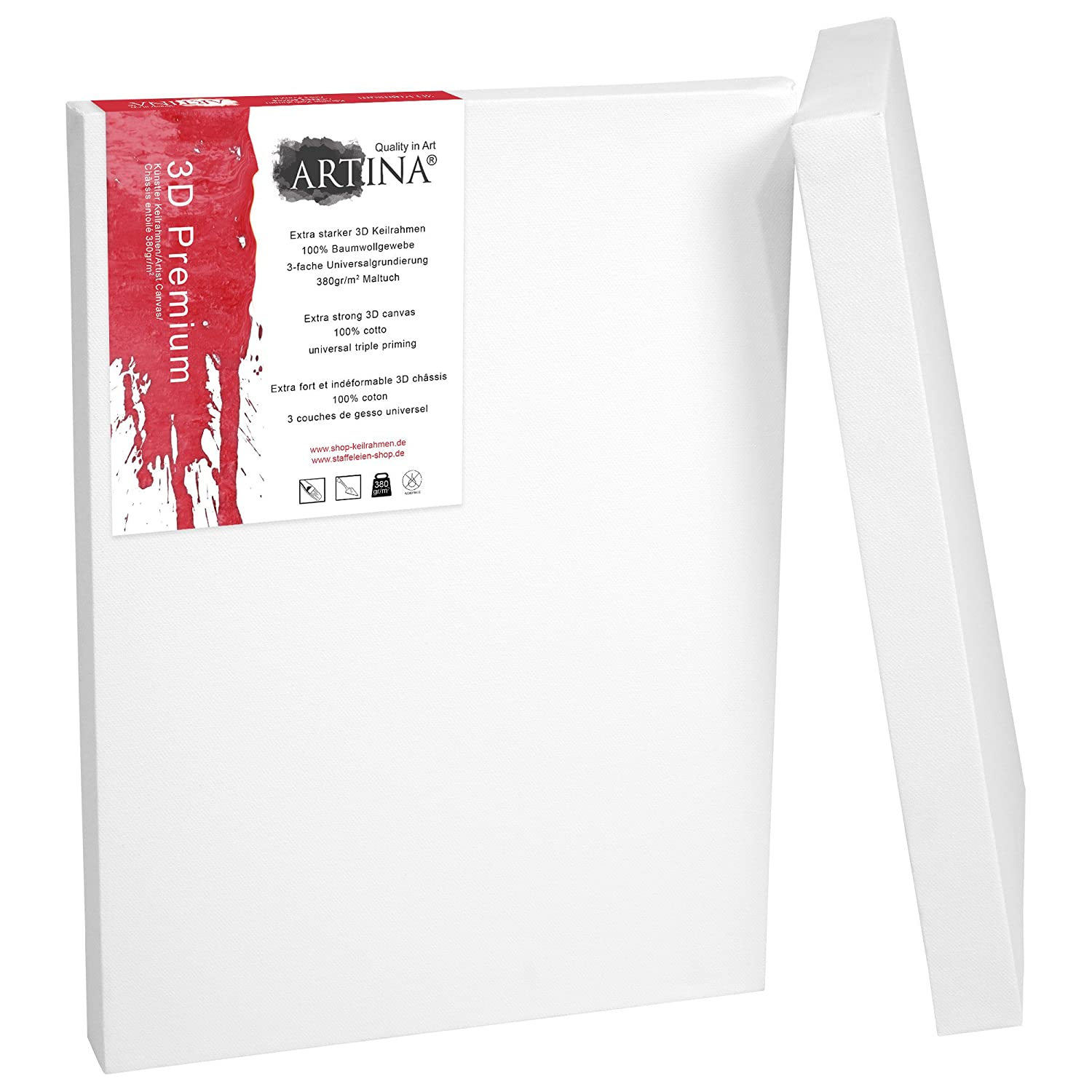 Artina 2 Deep Edge Canvases 40 x 70 cm Premium Quality Blank Art Canvas Bulk Stretched & Triple Primed 16 x 27 Inch