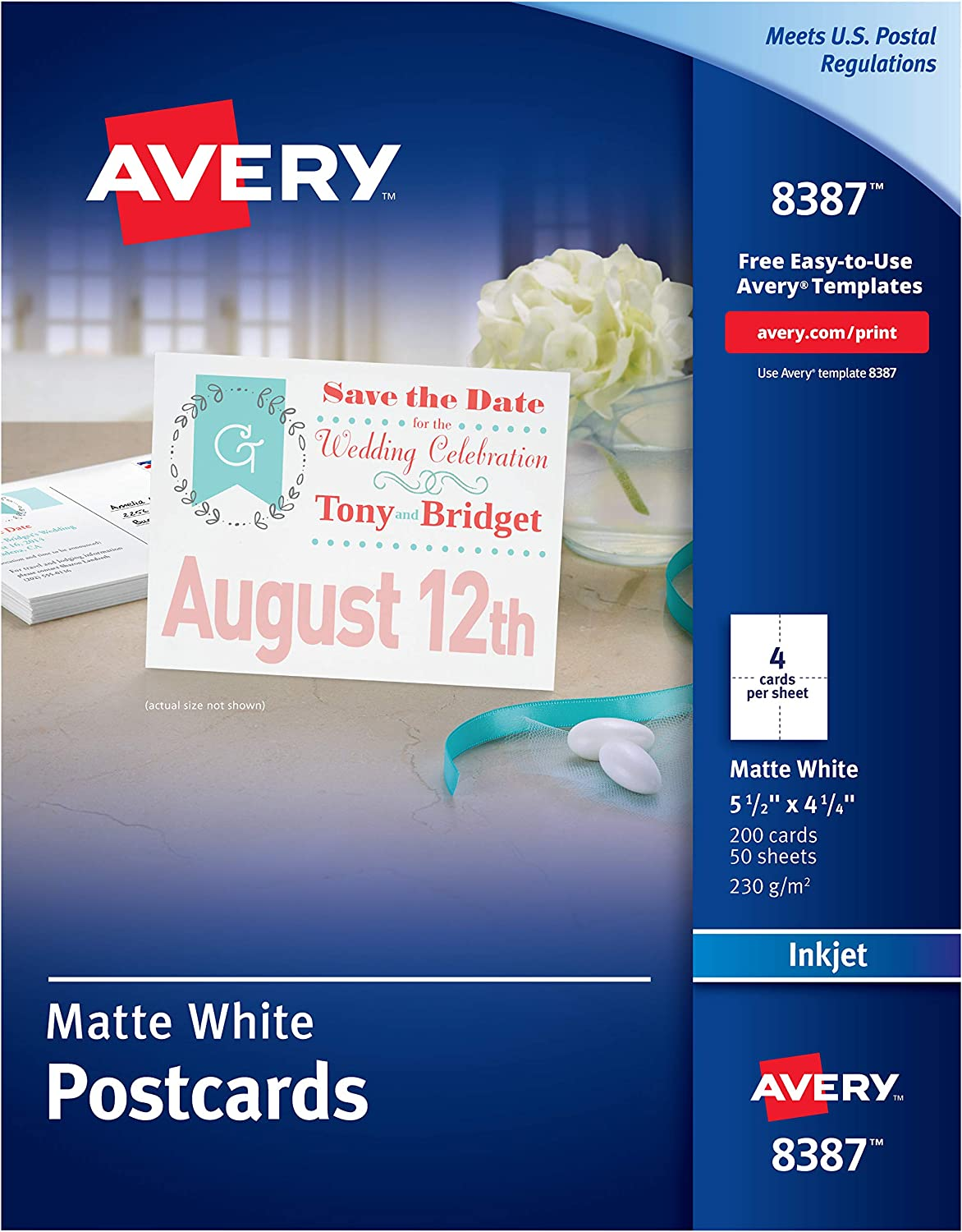 Avery Printable Cards, Inkjet Printers, 200 Cards, 4.25 x 5.5, U.S. Post Card Size (8387)