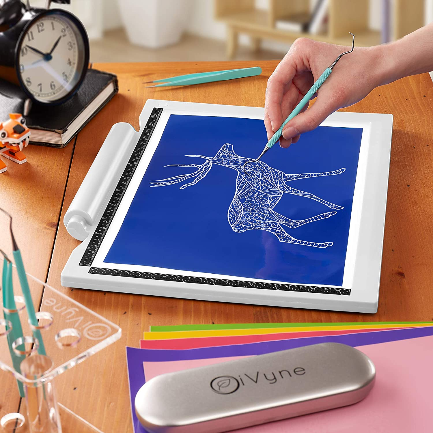 Drawing and HTV Vinyl Sketching Batteries Not Included -for Vinyl Weeding Tracing Battery /& Cable Powered LED Light Box iVyne Crafting Light Pad Crafting White