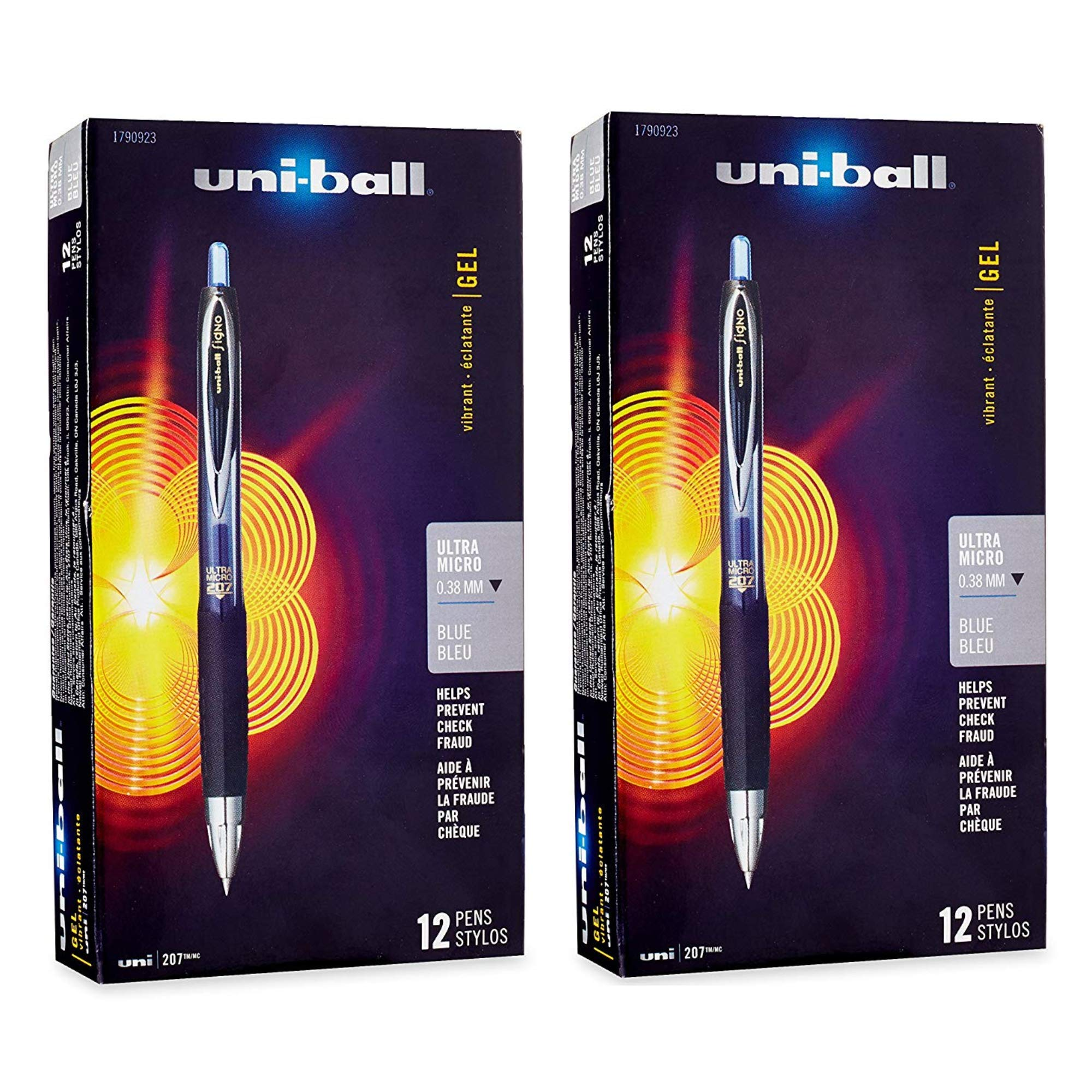 uni-ball 207 Retractable Gel Pens, Ultra Micro Point (0.38mm), Blue, 24 Count