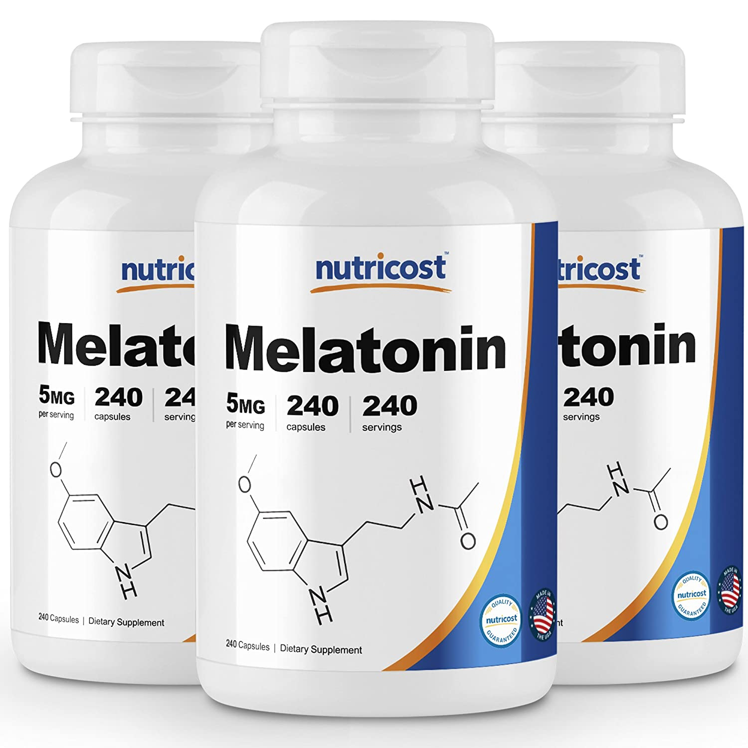 Amazon.com: Nutricost Melatonin 5mg, 240 Capsules - Regulate Sleeping Cycle, Non-GMO, Gluten Free, Made in the USA: Health & Personal Care
