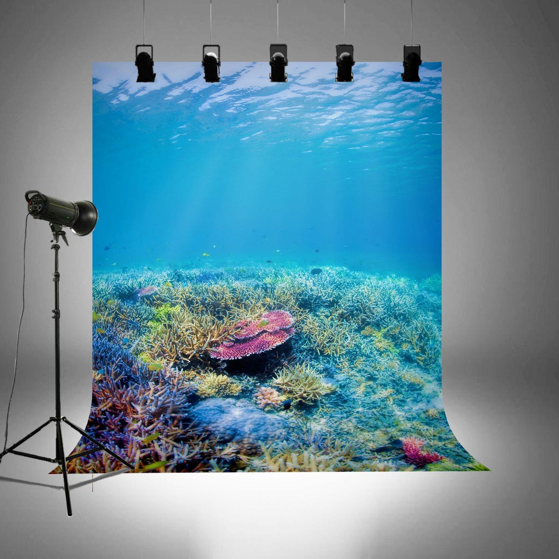 Underwater World 20180611 Vacaciones Fondo de Fotograf/ía bajo el Mar Buceo Papel Pintado para Fondo de Fotograf/ía para Fiestas de Verano