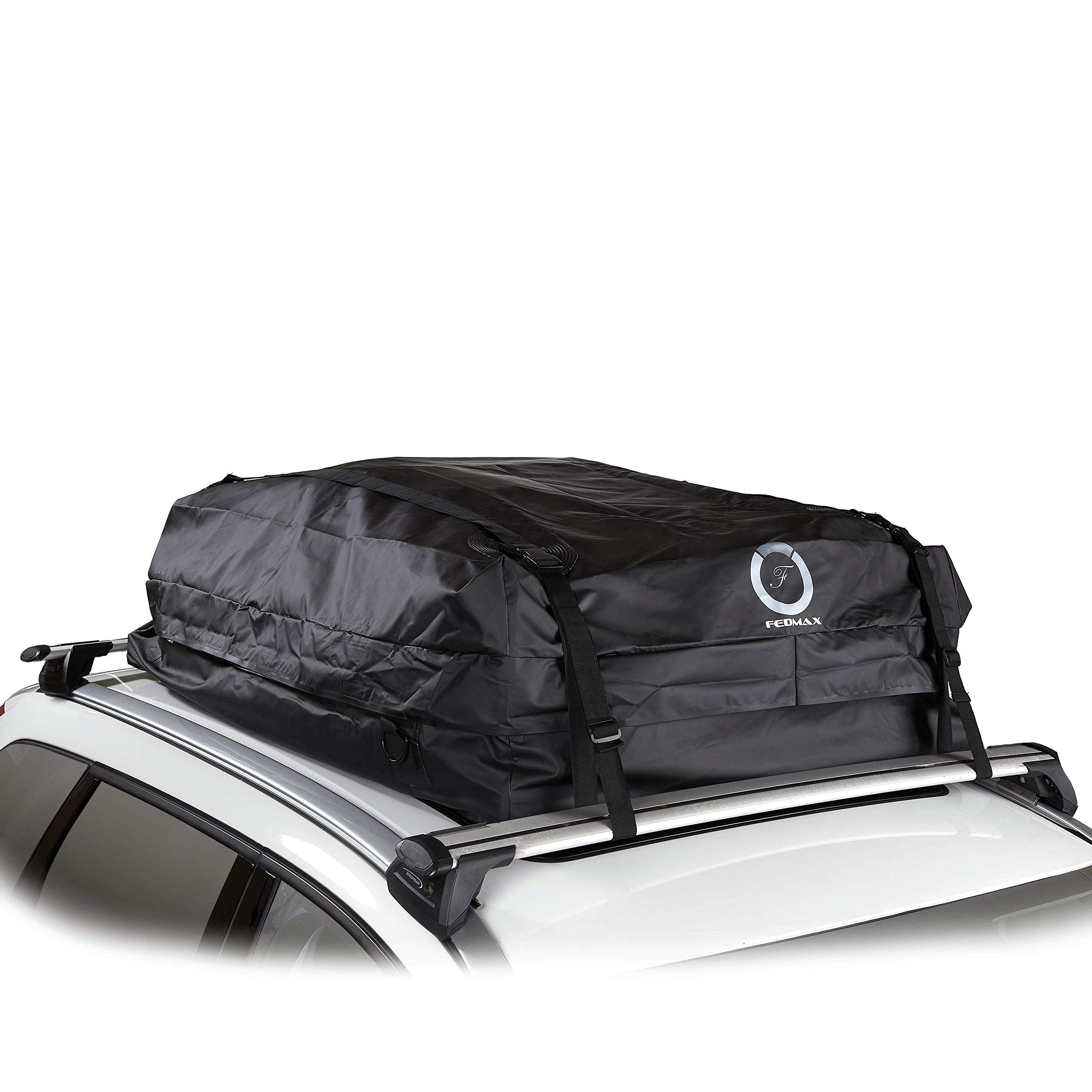 Fedmax Car Rooftop Carrier for Small Cars   Waterproof   Lock Included   Roof Top Luggage Bag (12CFT - Use with Racks) by Fedmax