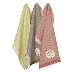 """DII Cotton Thanksgiving Holiday Dish Towels, 18x28"""" Set of 3, Decorative Oversized Embellished Woven Kitchen Towels, Perfect Home and Kitchen Gift - Embellished Fall In Love"""